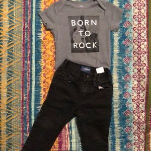 12-18 Month Black Jeans and born to rock bodysuit